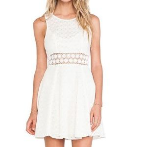 Free People White Lace Sheer Waist Swing Dress